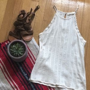 Off white high neck tank top